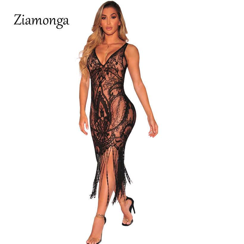 0a690bc9aa139 Ziamonga Women Sexy Dress Sleeveless V-Neck Hollow Tassel Black White Lace  Dress See Through