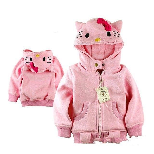 EMS DHL Aramex Бесплатная Доставка девушки дети с капюшоном куртки пальто детей мультфильм одежды Дети розовый пальто Новый 5 шт./лот 1-8 лет
