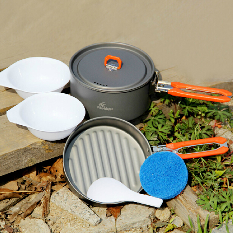 ФОТО 2016 Manufacture Fire Maple 6pcs Outdoor Camping Hiking Cookware Backpacking Cooking Picnic Bowl Pot Pan Set Feast-1