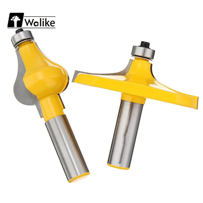 Wolike 2Pcs 1/2'' Shank Raised Panel Door Router Bit Woodworking Joint Cutter Tool Set Round Cove Box Bits Tools Milling Cutter