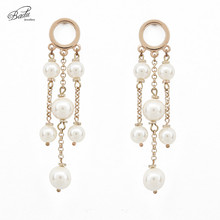 Badu Handmade White Simulated Pearl Elegant Wedding Enegagement Long Dangle Earrings for Women Party Jewelry Gift