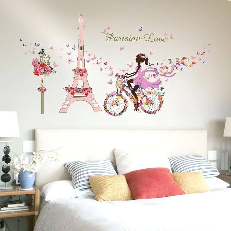 Romantični Eiffelov toranj Ljubavna zidna naljepnica Vodootporan - Kućni dekor - Foto 3