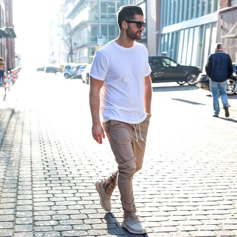 Justin bieber Siyah / Yeşil / Gri / haki yan fermuar harem pantolon - Erkek Giyim - Fotoğraf 2