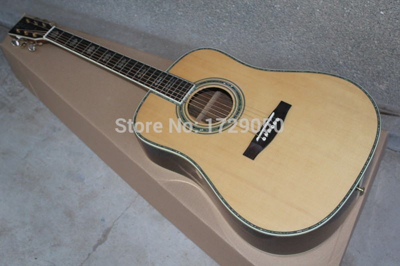 2017 Chinese Factory Custom New Abalone Inlays Solid Spruce Top Natural Wood D Model 45 Folk Acoustic Guitar Free Shipping 917 free shipping top quality solid spruce top j 185ec acoustic guitar natural wooden acoustic guitar
