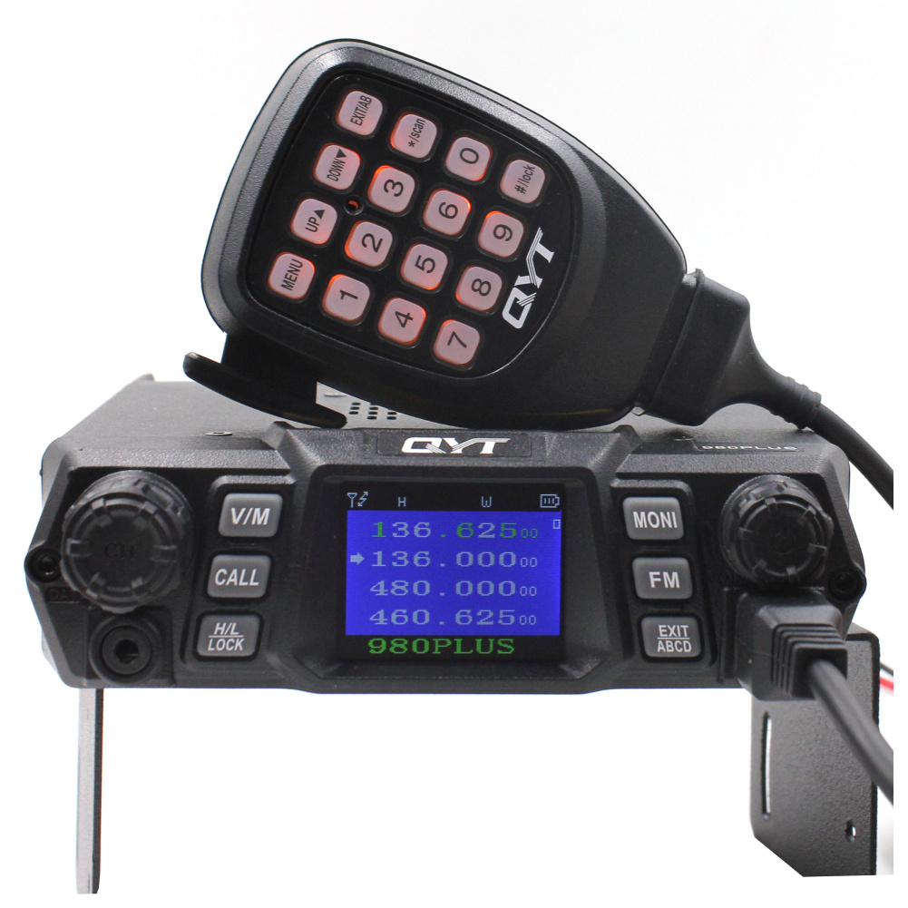 QYT KT-980Plus Dual Band Quad display 75W Car Trunk FM Mobile Transceiver Two Way Radio Update version of KT-UV980QYT KT-980Plus Dual Band Quad display 75W Car Trunk FM Mobile Transceiver Two Way Radio Update version of KT-UV980