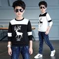 Meninos tshirt 5 6 7 8 9 10 11 12 13 anos Fawn Imprimir Manga Comprida Primavera Camisas Para Meninos Moda Crianças T-shirt Crianças roupas