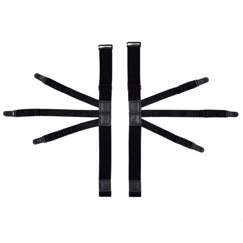 2Pcs Nylon Elastic Leg Suspenders Plastic Locking Clamps Shirt Stays Holder Straps Black New