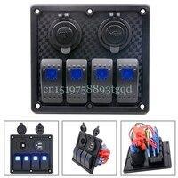 1PC Universal Auto ATV Marine Boat 4 Gang Circuit Blue LED Rocker Panel Switch Waterproof Switches
