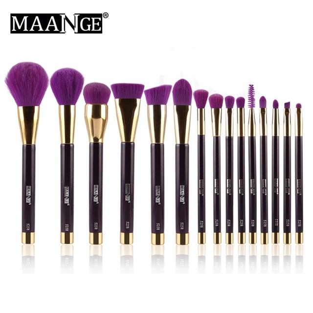 Maange 15 unids/set multifunción pinceles de maquillaje de pelo sintético fundación polvo de sombra de ojos delineador de labios colorete cosmética blending