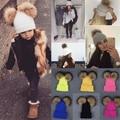 Cute Double Fur Hats Female Winter Solid Kawaii Knitted Hat for Women 2017 Stylish Girls Kids Warm Beanie Caps Balaclava Bonnet