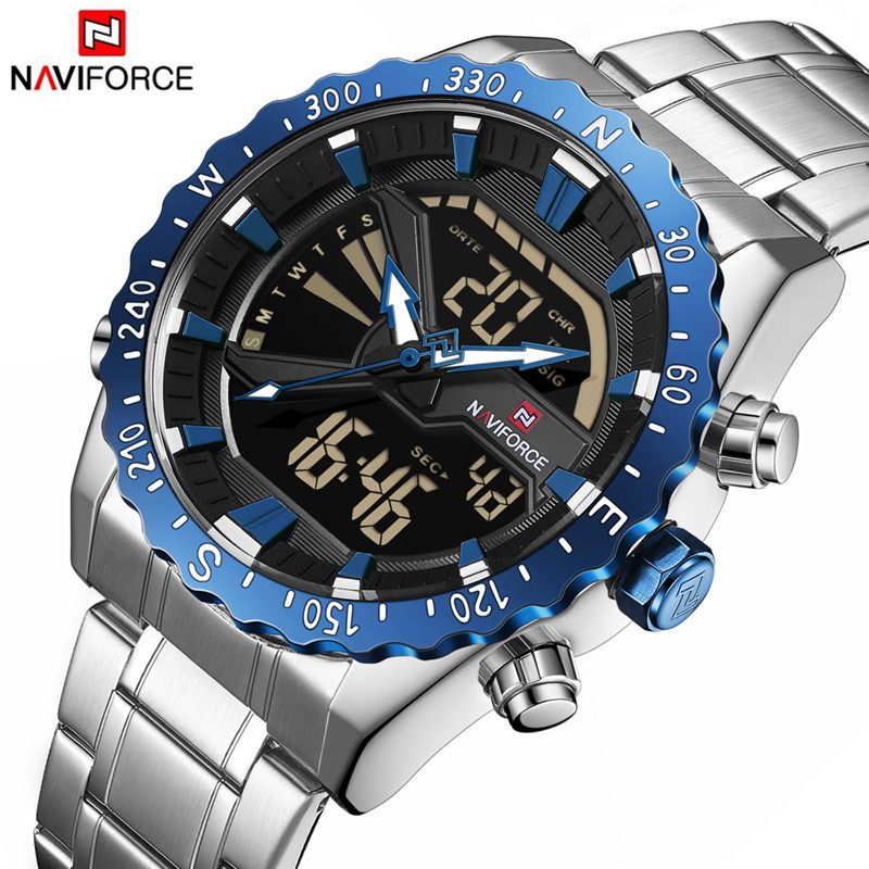 Men Military Sport Watches LED Analog Digital Male Clock Stainless Quartz Wristwatch  9136