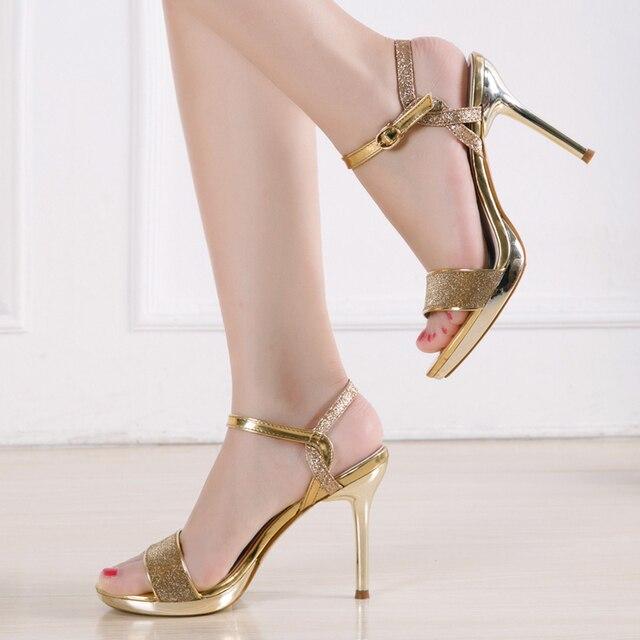 a628b59a96f Moda mujer Sexy sandalias de Punta abierta zapatos de mujer calado fino  tacón alto dama elegante