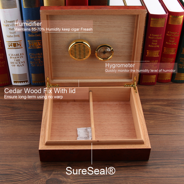 GALINER Spanish Cedar Wood Travel Cigar Humidor Magnets Hygrometer Humidifier For Cohiba Cigars Humidor Case Christmas Box