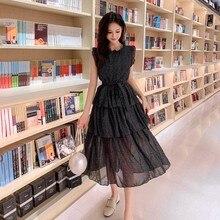 LLZACOOSH 2019 High quality women Runway sleeveless summer Collect waist Dress Sexy black Ruffled white dots Long cake Dress