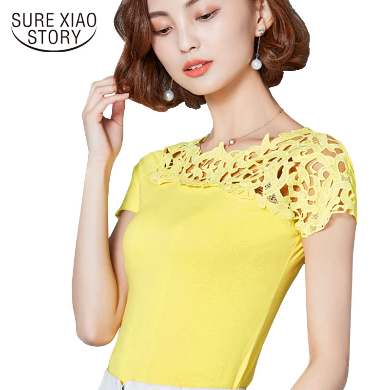 2017 fashion casual short sleeve WomenTops summer hollow patchwork women Blouse Shirt slim sexy font b