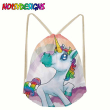 Fashion Drawstring Bag 3D Printing Unicorn Mochila Feminina Drawstring Backpack Women daily Casual Girl's knapsack Unicorn Pink