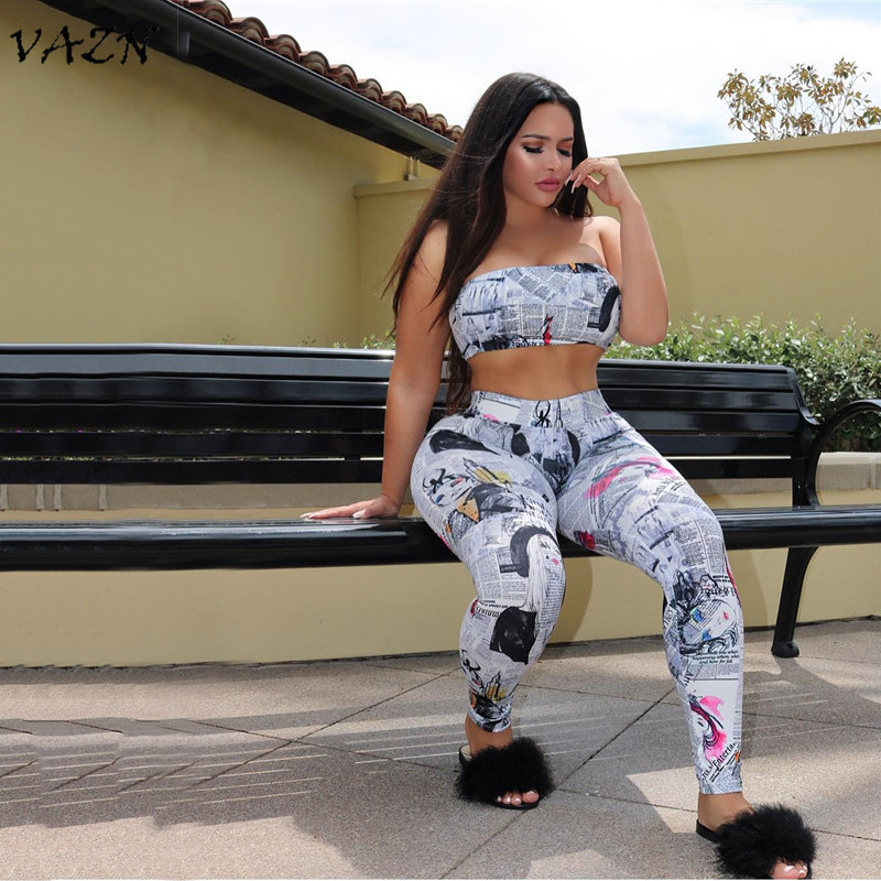 VAZN 2018 Sexy Fashion Top Design Beach Style 2 Piece Women Set Strapless Sleeveless Mini Tops Full Length Elasticiyt Set D624