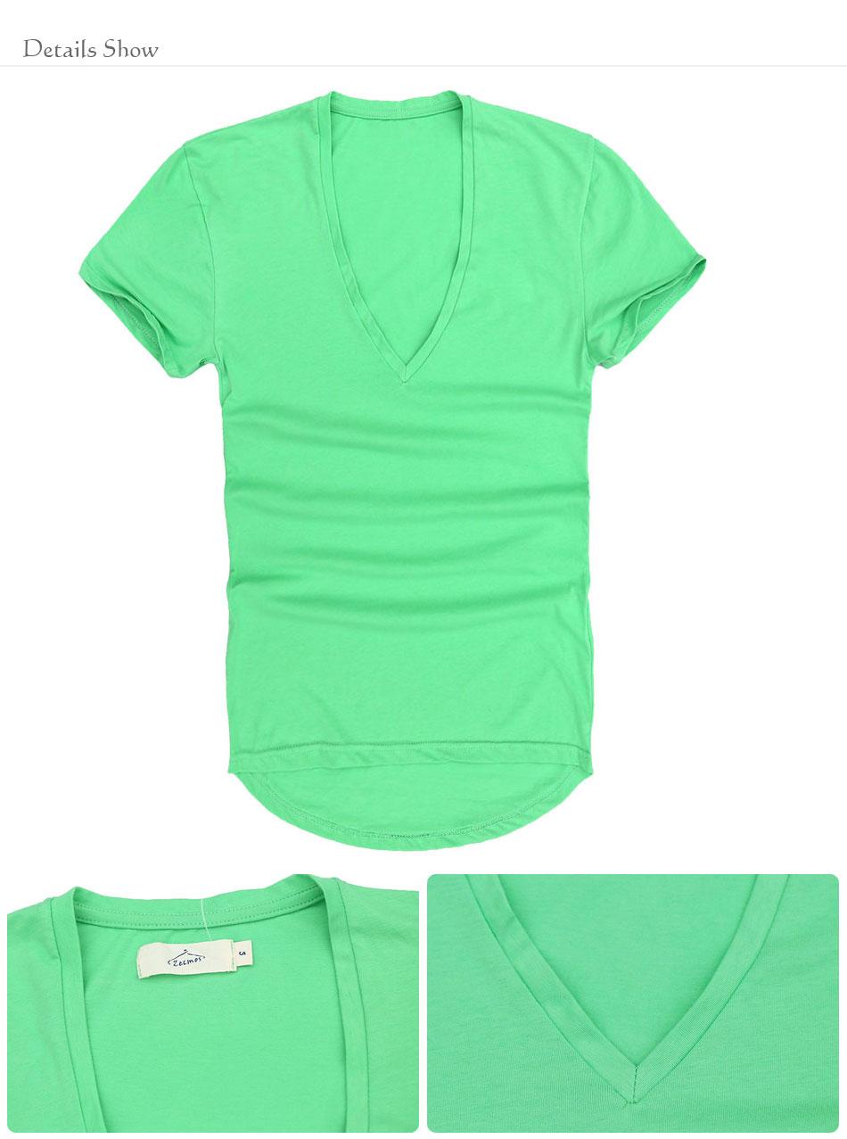 Zecmos Deep V Neck Sexy Men T-Shirt Vintage Short Sleeve Solid Color Muscle Fit T Shirt Men Top Tees Fashion 52