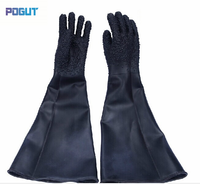 Free shipping Professional sandblasting machine glove protective glove 65cm length, latex industrial gloves цена