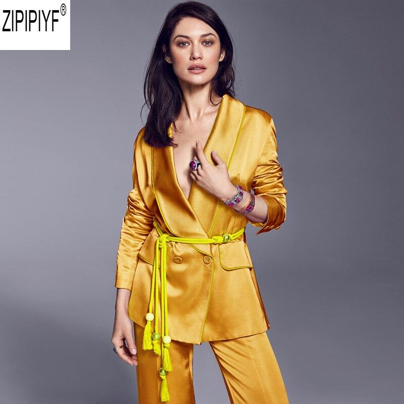 Costume Long Blazer Ceintures Streetwear Survêtement Femmes C2675 Mince Veste Et Ol Pantalon Jaune 2018 Pour Vintage Manteau Gland 7gfyb6