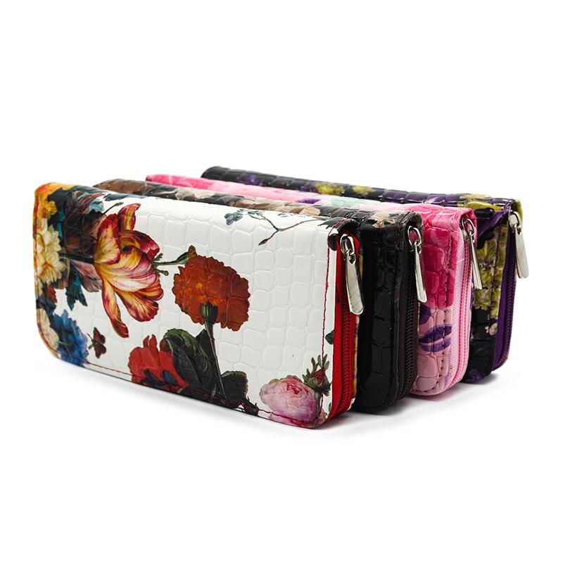 Fashion Flower Print Women Purse Long Popular Wallet Bags for Women Handbags Phone Clutch Purse Card Holder Zipper Pocket Gift