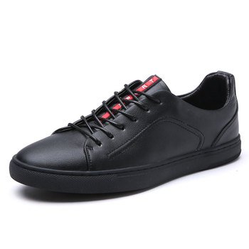 EXCARGO Genuine Leather Casual Sneakers Men Shoes Male Sneakers Black Comfortable Lace Up Footwear 2020 New Male Leather Casual