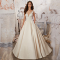 Elegant Satin A-Line Wedding Dresses Romantaic Backless Appliques Sexy Scoop Neck Bridal Gown Plus Size Vestidos De Novia WA149