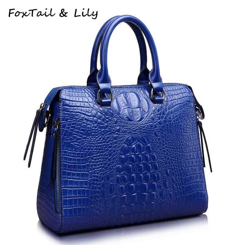 FoxTail & Lily Luxury Crocodile Pattern Women Handbags Split Leather Shoulder Messenger Bags Female Crossbody Bag Brand Designer giaevvi luxury handbags split leather tote women messenger bags 2017 brand design chain women shoulder bag crossbody for girls