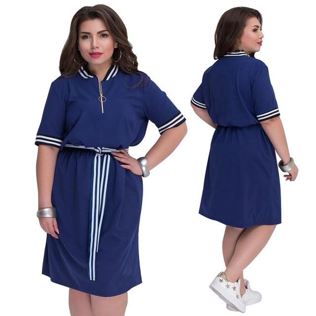 fb9e26fb247a Plus Size Women Clothing Short Sleeve Summer Dress Navy Blue 5XL 6XL Loose  Shirt Dress Casual Women Dress robe femme ete 2018