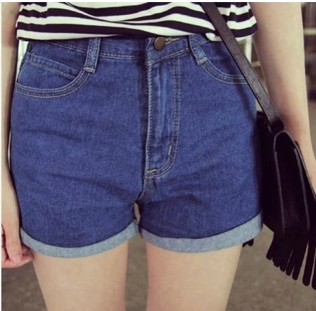 2014 new female slim all-match denim blue high waist denim hot shorts women's jeans casual short pants free shipping the explosion of the classic all match solid colored body hip high elastic denim pants feet female winter bag mail