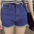 2014 new female slim all-match denim blue high waist denim hot shorts women's jeans casual short pants free shipping