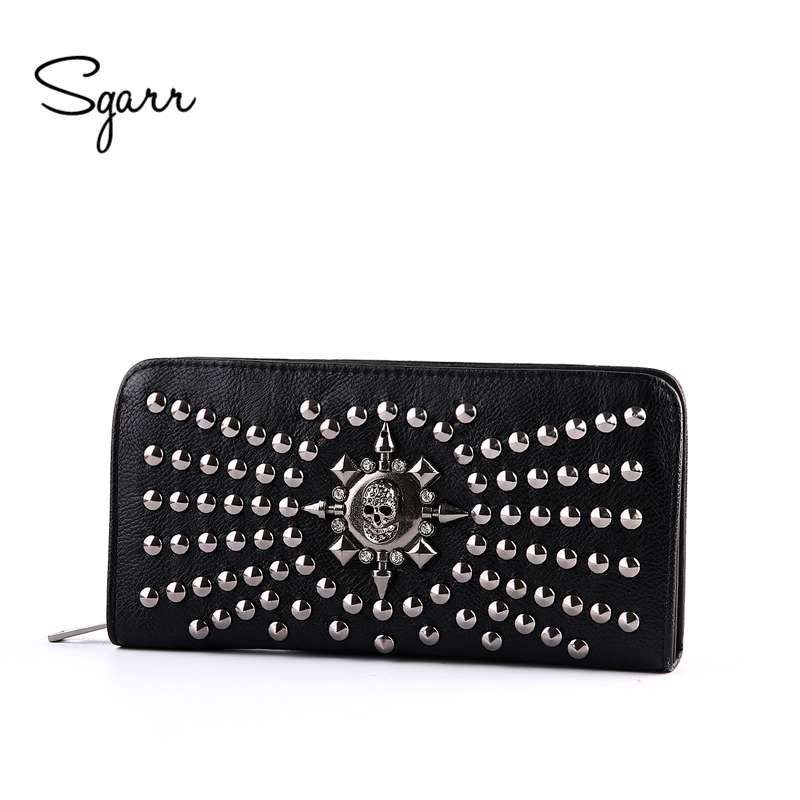 SGARR Women Famous Brand Wallet Luxury Long Wallets Female Leather Vintage Skull And Rivet Women Clutch Bag Designer Purses