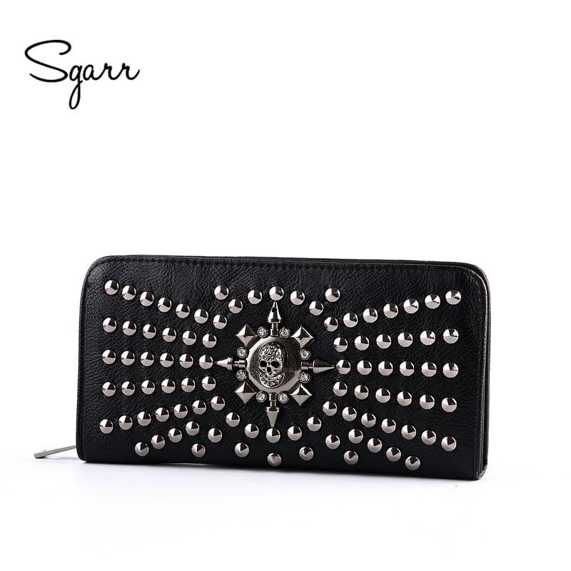 SGARR Women Famous Brand Wallet Luxury Long Wallets Female Leather Vintage Skull And Rivet Women Clutch Bag Designer Purses