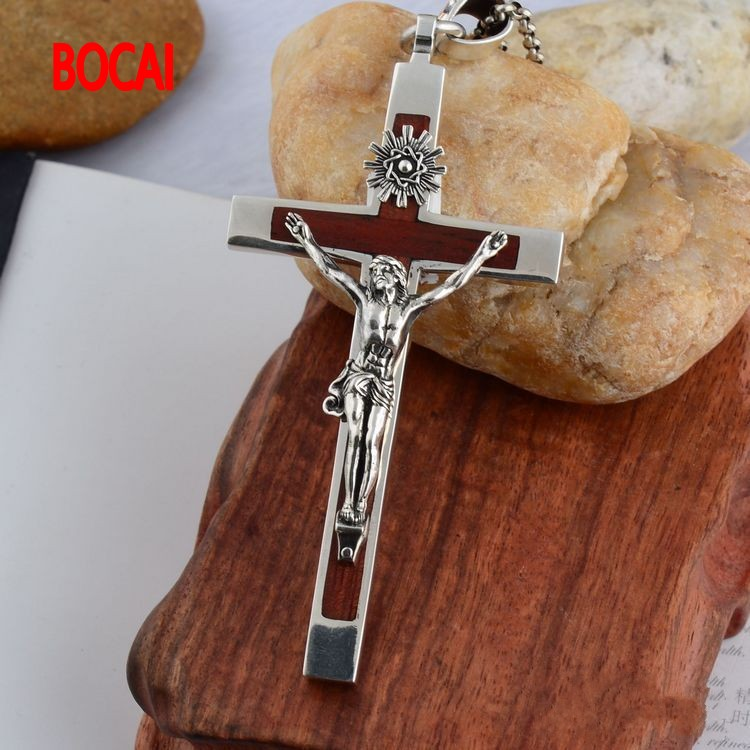 925 Sterling Silver Cross Silver ebony cross Thailand import domineering men Pendant
