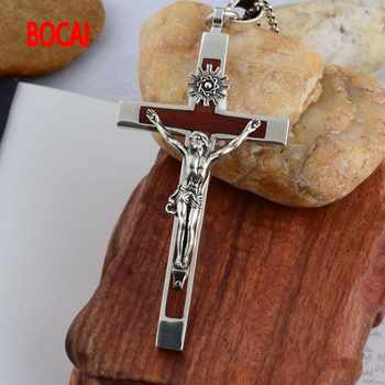925 Sterling Silver Cross Silver ebony cross Thailand import domineering men Pendant - DISCOUNT ITEM  30% OFF All Category