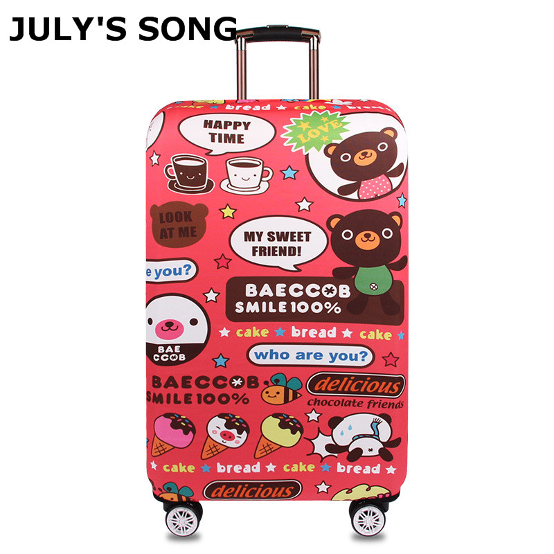 JULY'S SONG Suitcase Cover For 18-32'' Luggage Case Trolley Protector Cover Cartoon Case For Suitcase Travel Accessories