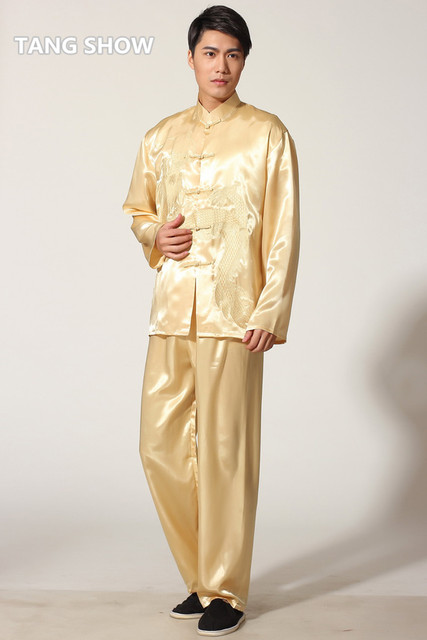 Hot Sale Gold Chinese Men's Satin Rayon Kung Fu Suit Vintage Embroidery Dragon Tai Chi Wushu Uniform Size S M L XL XXL M051-1