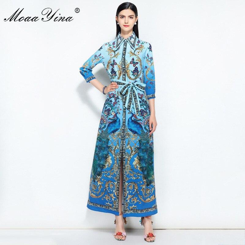 Kadın Giyim'ten Elbiseler'de MoaaYina Moda Tasarımcı Pist yaz elbisesi Kadınlar 3/4 kollu Indie Halk Kelebek Tavuskuşu Çiçek Baskı Zarif Gevşek Elbise'da  Grup 1