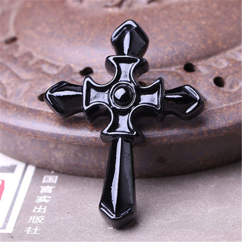 Dropshipping natural Obsidian Pegasu Pendant Natural Black A Jesus Christ  Necklace For Women Men fine Jewelry