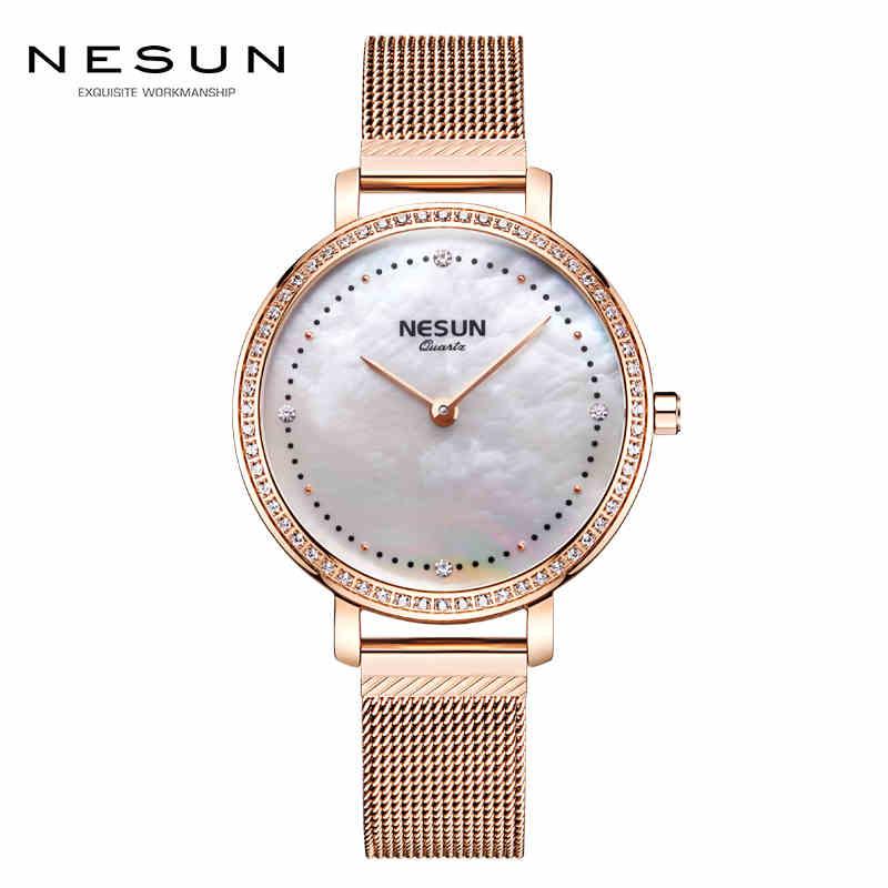 Relojes de pulsera ultrafinos de marca de lujo de Suiza para mujer, relojes de cuarzo de Japón, relojes de pulsera de diamantes femeninos para mujer, N8809 3-in Relojes de mujer from Relojes de pulsera    1