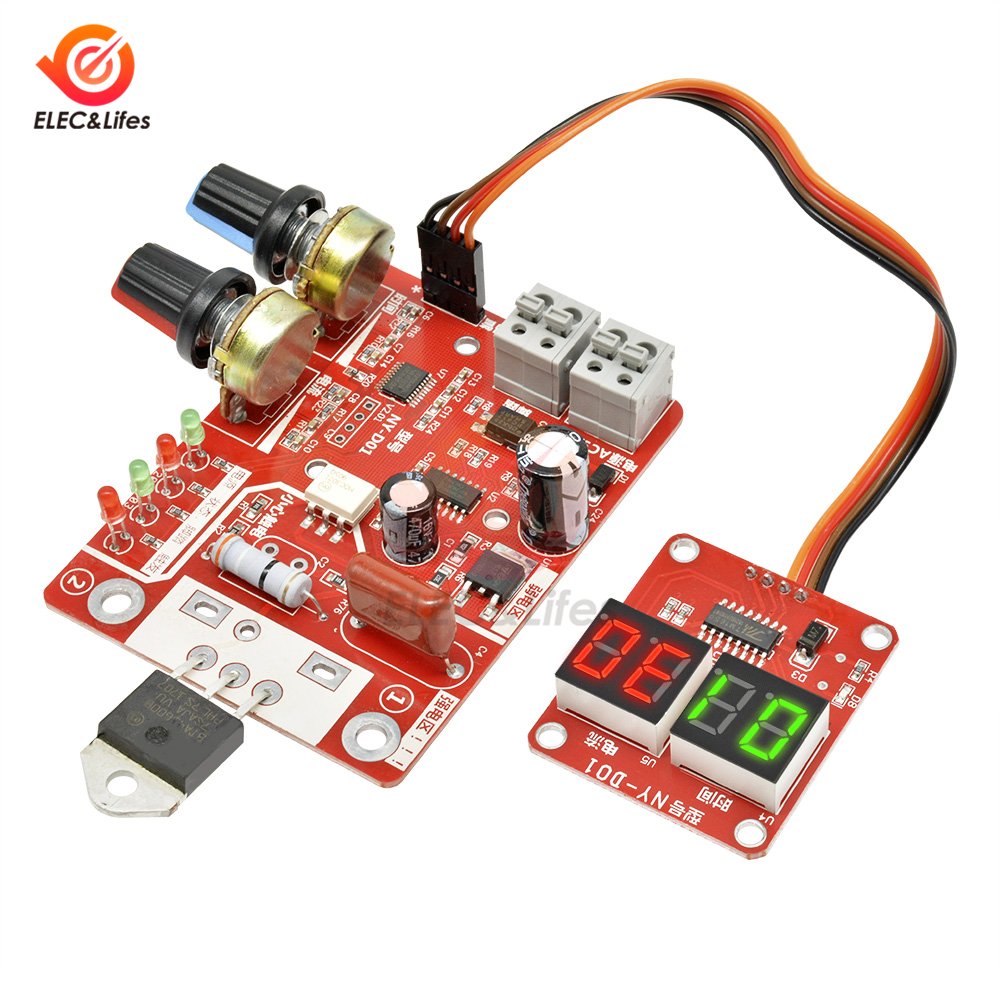 40A 100A Digital Spot Welder Machine Time Control Board Spot Welding Adjust Time & Current Transformer Controller Panel Module