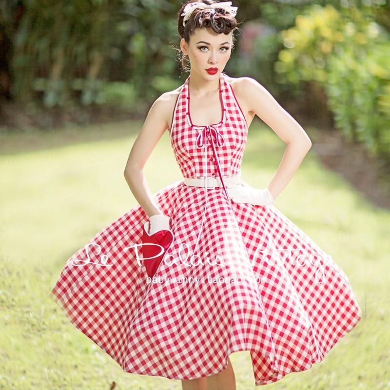 Vintage Halter Red Dress