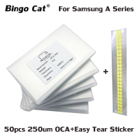 50pcs/Lot 250um OCA Glue Optical Clear Adhesive for Samsung Galaxy A5 A310 A320 A510 A520 A710 A720 A8 A9 Touch Glass Lens Film