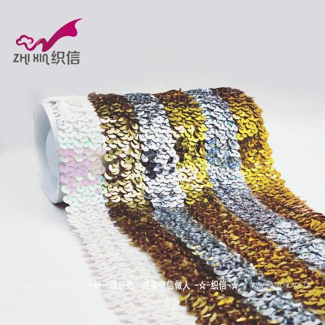 Silver Gold Sequin Tessuto Elasticizzato Elastico Lace Trim Ribbon Allungato Paillettes Ruban Dentelle Copricapo Abbigliamento Accessori