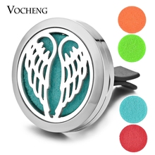 Car Perfume Diffuser Locket Vent Clip 316L Stainless Steel Pendant Magnetic Angel Wing Random Send 5pcs Felt Pads as Gift VA-311