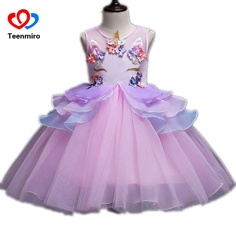 New Flower Prom Dress for Children Girls Unicorn Pearls Applique Kids Cosplay Princess Dresses Girl Birthday Party Tulle Tutu 10 new autumn pearls bow flowers girl party dress wedding birthday girls dresses tutu style princess clothes for children 3 9t