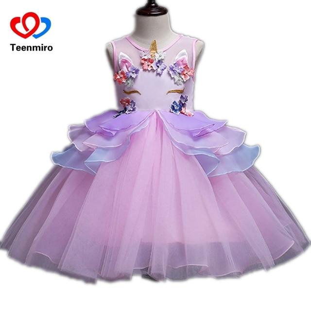 New Flower Prom Dress for Children Girls Unicorn Pearls Applique Kids  Cosplay Princess Dresses Girl Birthday e7d53b22788b