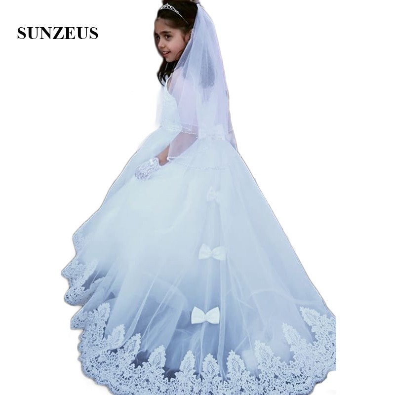 Illusion O-Neck White Wedding Party   Dress   for Children Lace Appliques   Flower     Girls     Dress   Back Bow SF29