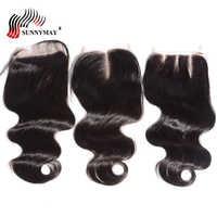 Sunnymay 3.5x4 zamknięcie koronki bielone węzłów dziecko włosy brazylijski dziewiczy włosy Top zamknięcie koronki Frontal część środkowa