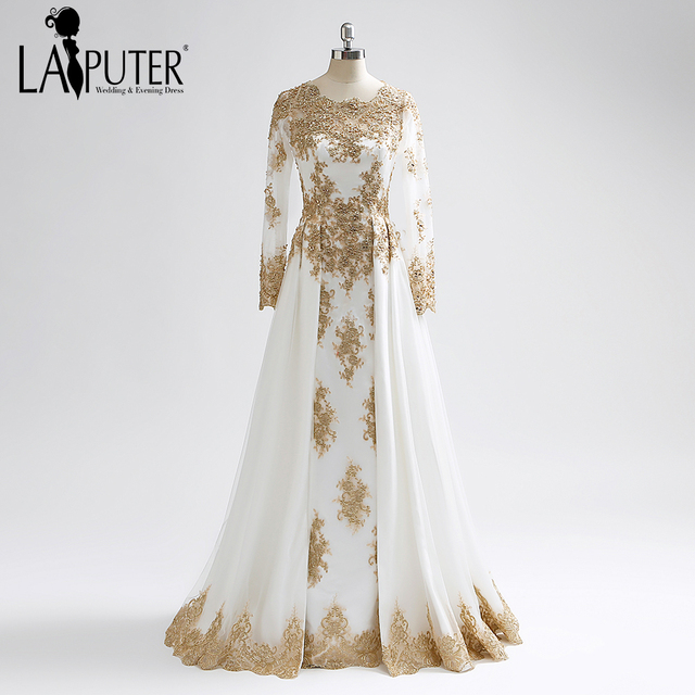 69ce0c3b76 Laiputer 2018 Best Selling Amazing Gold Lace Muslim Long Sleeves Heavy  Beading Vintage Arabic Popular Evening Prom Dresses